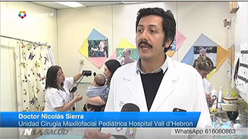 L'equip de cirurgia oral i maxil·lofacial de Vall d'Hebron és entrevistat a TeleMadrid.
